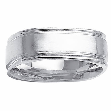Square Mens Ring Grooved Edges - click to enlarge