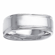 Square Mens Ring Grooved Edges