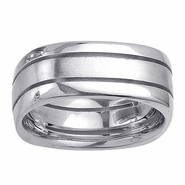 Square Mens Ring with Grooves