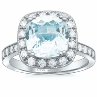 Square Pave Diamond Halo Engagement Ring for Aquamarine