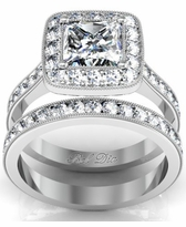 Square Pave Halo Engagement Ring with Milgrain Bridal Set