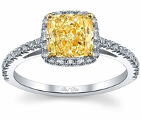 Square Shaped Yellow Diamond Halo Engagement Ring