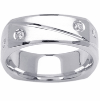 Square Unique Mens Diamond Wedding Ring (0.32cttw)