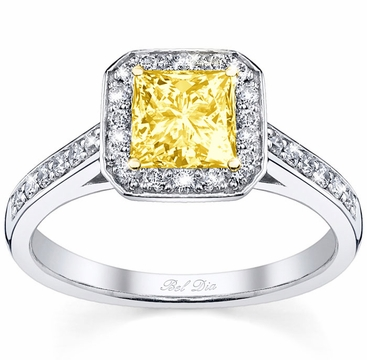 Square Yellow Diamond Engagement Ring - click to enlarge