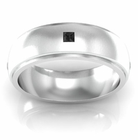 Step Edge Princess Cut Black Diamond Wedding Band with Domed Center