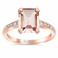 Tapered Pave Diamond Engagement Ring for Emerald Morganite