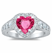 Tapered Pink Sapphire Heart Engagement Ring