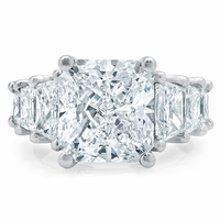 Tapered Radiant Engagement Ring with Trapezoids