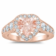 Tapered Rose Gold Heart Morganite Halo Engagement Ring