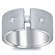 Tension and Flush Set Diamond Men's Ring