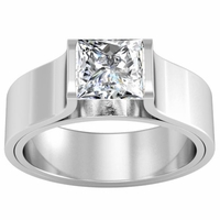 Tension Set Style Princess Solitaire Engagement Ring