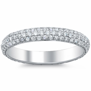 Three Row Pave Diamond Eternity Rings 3mm