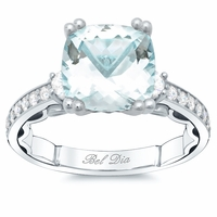 Three Stone Engagement Ring for Aquamarine
