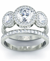 Three Stone Halo Wedding Ring Set