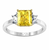 Three Stone Radiant Yellow Diamond Engagement Ring