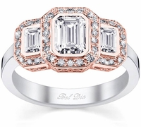 Three Stone Halo Rose Gold and White Gold Engagement Ring