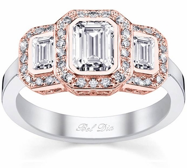 Three Stone Halo Rose Gold and White Gold Engagement Ring - click to enlarge