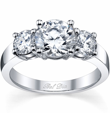 Three Stone Round Engagement Ring Setting - click to enlarge