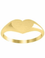 Tiny Heart Signet Ring Yellow Gold