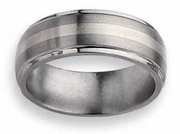 Titanium and Silver Ring Matte and High Polish Finish in 8mm