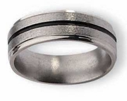 Titanium Ring Black Inlay High and Matte Finish in 6mm
