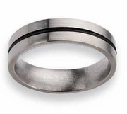 Titanium Ring Black Inlay Matte Finish in 6mm