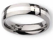 Titanium Ring  Silver Inlay High Polish Finish in 6mm
