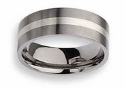 Titanium Ring  Silver Inlay Matte Finish in 8mm