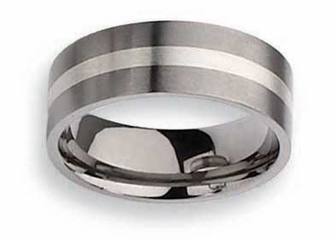 Titanium Ring  Silver Inlay Matte Finish in 8mm - click to enlarge