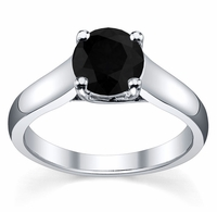 Trellis Round Black Diamond Solitaire