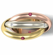 Tri-Color Diamond and Ruby Rolling Ring