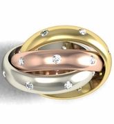 Tri-Color Diamond Trinity Ring