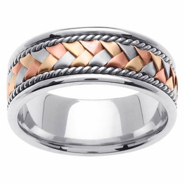 Tri Colored Gold Ring 14 Karat 8.5mm - click to enlarge