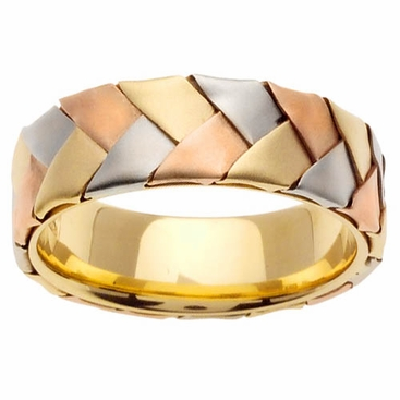 Tri Gold Band Braided 7mm 14kt - click to enlarge