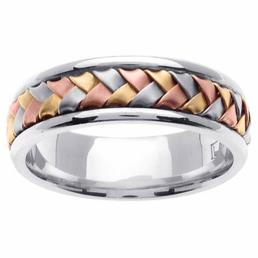 Tri Gold Ring Handmade Design in 7mm and 14kt - click to enlarge