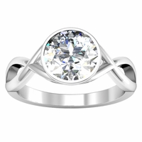 Twisted Bezel Set Solitaire Engagement Ring