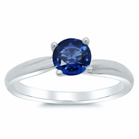 Twisted Blue Sapphire Solitaire Engagement Ring