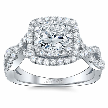 Twisted Split Shank Double Halo Engagement Ring - click to enlarge