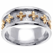 Two Tone Fleur de Lis Platinum and Gold Handmade Ring