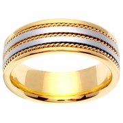 Two Tone Gold 7mm Handmade Wedding Ring