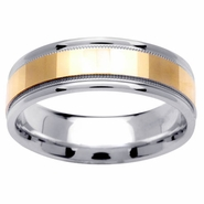 Two Tone Gold Ring with Comfort Fit in 6.5mm 14kt for Men