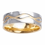 Two Tone Gold Ring with Comfort Fit in 7mm 14kt for Men