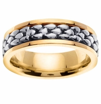 Two Tone Mens Hand Made Wedding Ring