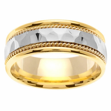 Two Tone Mens Handmade Ring Hammered Center - click to enlarge