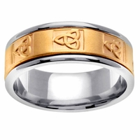 Two Tone Mens Wedding Ring with Celtic Trinity Knot Design