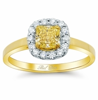 Two-Tone Pave Halo Engagement Ring