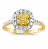 Two-Tone Pave Halo Engagement Ring with Pave Accents