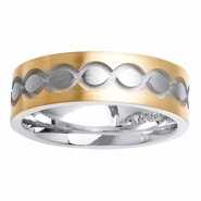 Two Tone Ring with Comfort Fit in 7mm 14kt Gold for Men