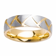 Two Tone Wedding Ring Comfort Fit in 6mm 14kt