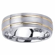 Two Tone Wedding Ring with Comfort Fit in 6.5mm 14kt Gold for Men